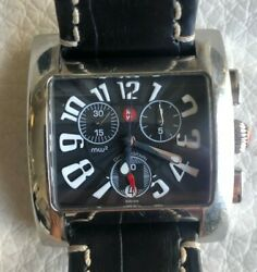 Mens Steel Michele Mw2 Square Chronograph Watch Superb Condition With Black Band