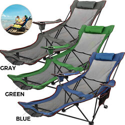 Green/blue/gray Reclining Folding Camp Chair W/ Footrest Lounge Chaise Footrest