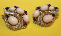 RARE AND ELEGANT CROWN TRIFARI SIGNED JEWELED CLIP ONS WITH PEACH COLORED CABS