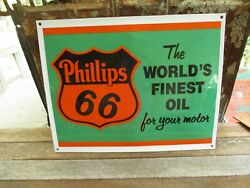 Phillips 66the World's Finest Oil For Your Motor-porcelain Sign-exc.condition