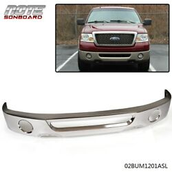 For 2006-2008 Ford F150 Truck W/ Fog Hole Chrome Steel Front Bumper Face Bar
