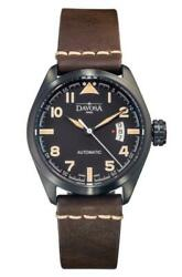 Davosa Automatic Brown Leather Strap Black Face Vintage Military Watch