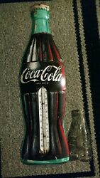 Vintage Coca-cola Large Thermometer 29x9 Inch Works Great.