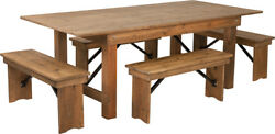 7and039 X 40and039and039 Rectangular Antique Rustic Folding Farm Table With 4 Benches Set