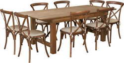 7' X 40'' Antique Rustic Folding Farm Table Set W/8 Cross Back Chairs And Cushions
