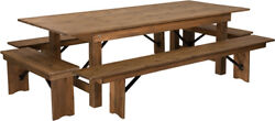 8' X 40'' Rectangular Antique Rustic Folding Farm Table With 4 Bench Set
