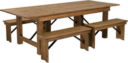 8' X 40'' Rectangular Antique Rustic Folding Farm Table With 4 Benches Set