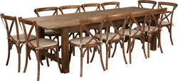 9and039 X 40and039and039 Antique Rustic Folding Farm Table Set 12 Cross Back Chairs And Cushions