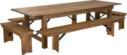 9and039 X 40and039and039 Rectangular Antique Rustic Folding Farm Table With 4 Bench Set