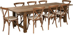 9' X 40'' Antique Rustic Folding Farm Table Set 8 Cross Back Chairs And Cushions