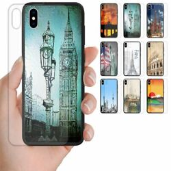 For Samsung Galaxy Series City Landmark Tempered Glass Back Case Phone Cover 1