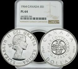 1964 Canada Silver Dollar Ngc Pl64 Celebrated Light Toning And Great Year