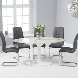 Brittney 1.6m Oval White Marble 7 Piece Dining Table Set