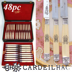Spectacular Antique French Cardeilhac 48pc Table Knife Set, 18/18/12, Orig. Box