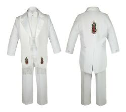 R Baby Toddler Boy Baptism Communion White Tail Suit Gold Guadalupe Stole And Back