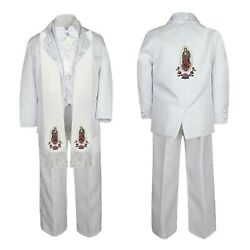 Baby Boy Teen Baptism Formal White Paisley Suit Gold Virgin Mary Stole And Back