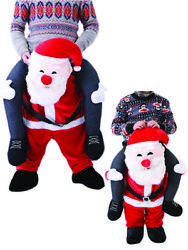 Funny Ride On Santa Claus Mascot Costume Christmas Fancy Dress Adult Size