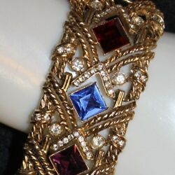 RARE TRIFARI (c) SIGNED WIDE JEWELED BRACELET 1 38 WOW FACTOR AND STUNNING!!!