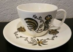 Vintage Retro Rooster Cup Saucer Set Royal Good Morning Coffee Tea Mcm Kitchen