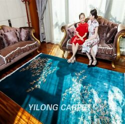 Yilong 4and039x6and039 Peacock Green Handmade Silk Rug Chinese Art Deco Hand Woven Carpets