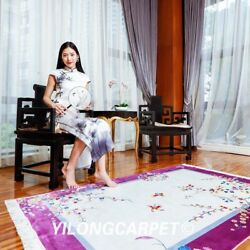 Yilong 4and039x6and039 Purple Hand Knotted Chinese Art Deco Silk Rug Flowers Area Carpet