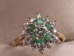 Q104 Ladies 9ct Gold Emerald And Diamond 3 Tier Cluster Ring Size M 1/2