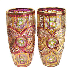 Pair Bohemian Cranberry Red And Clear Hand Painted Enamel Cut Glass Vases, C1910