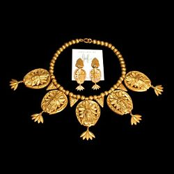 RARE SET JOSEFF AMERICAN INDIAN CHIEF GOLD PLATED NECKLACE & EARRINGS PAIR PR
