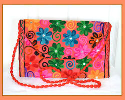Mirror work Wool Embroidery Cotton Purse Clutch Shoulder Bag from India!!