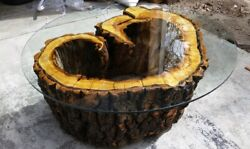 Hand Made Aspen Tree Coffee Table, 48in Diameter, 54in Tempered Glass.