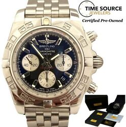 Breitling Chronomat Chrono 44mm Black Dial And Silver Stainless Ab0110 Bandp Watch