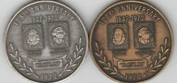2 1972 125th Anniversary 1st First United States Postage Stamps Medal Token