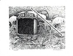 John Deere Model G.p. Farm Tractor In The Snow Pen And Ink Print