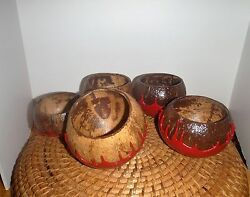Makers Mark Red Wax 5 Coconut Bowls Nuts Bar Drink Kentucky Bourbon Whiskey