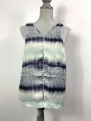 Tart Womens Large Purple Gray Aqua Printed Stripe Vneck Open Back Sleeveless Top