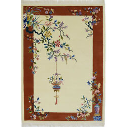 Yilong 4'x6' Elegant Hand Craft Wool Carpet China Art Deco Hand Knotted Area Rug