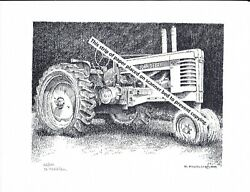 John Deere Model A Styled Farm Tractor Rubber Tires Pen And Ink Print
