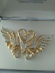 NOLAN MILLER Glamour Collection High End Estate Jewelry Pin-RHINESTONE SWAN