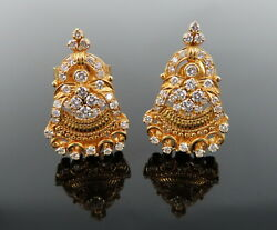 Vintage 1.50ct Diamond 22k Solid Yellow Gold Decorated Handmade Earrings
