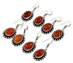 New Lot 100 Pairs Natural Red Onyx Gemstone 925 Silver Plated Earrings Wholesale