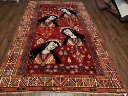 5and039 X 9and039 Antique Hand Made India Oriental Wool Rug Girls Image Vegy Dyes Organic