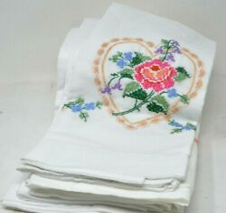 Set Of 6 Vintage Pillowcases Hand Stitched Embroidered Floral Roses Matching