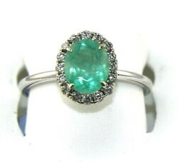 Natural Oval Emerald And Diamond Halo Solitaire Ladyand039s Ring 18k White Gold 1.42ct