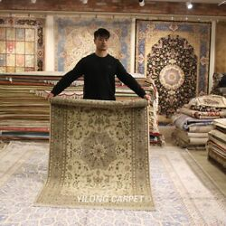 Clearance Yilong 4and039x6 Interior Natural Wool Area Rug Hand-knotted Carpets 2097
