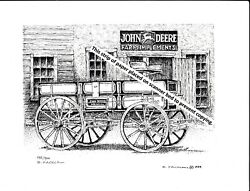 John Deere Farm Wagon At Implement Dealers Pen And Ink Print