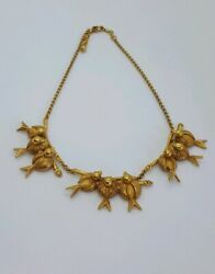 Askew London, Signed Nesting Birds Necklace With 18k Gp Finish And Classic Clasp.