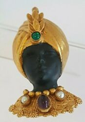 Askew London Blackamoor Figural Brooch/pin, With Cabochons And Mini Faux Pearls