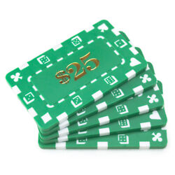 20 Green 25 32g Rectangular Square Poker Chips Plaques New