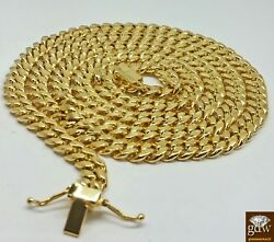 14k Yellow Gold Miami Cuban Chain 8mm 22 Inch Long Box Lock Menand039s Necklace Real