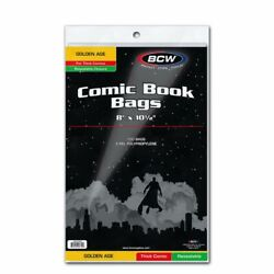 100 Bcw Resealable Bags For Golden Age Thick Comic Books Acid Free Safe Storage